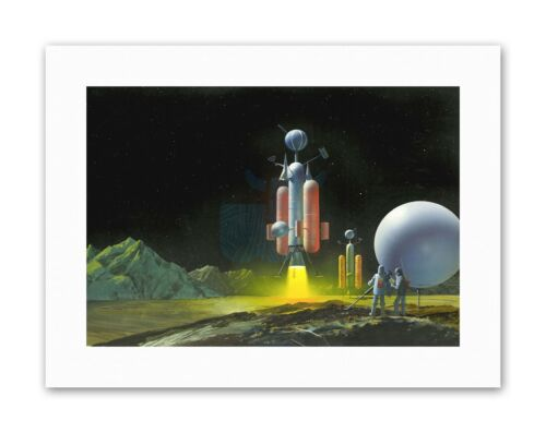 1950S SPACE SHIP MEN PLANET SCI FI NEW Poster Picture Illustration Drawing