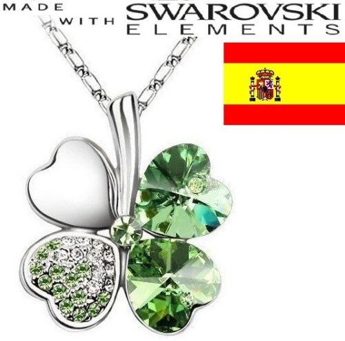 Lucky Necklace Four Leaf 4 Trebol De Cuatro Hojas Colgante Collar de la Suerte