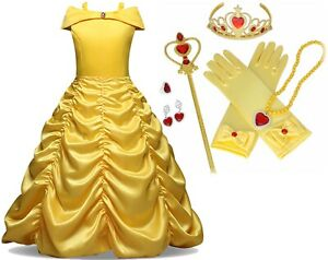 Beauty-and-Beast-Kid-039-s-Yellow-Princess-Belle-Costume-Halloween-Party-Girl-Dress