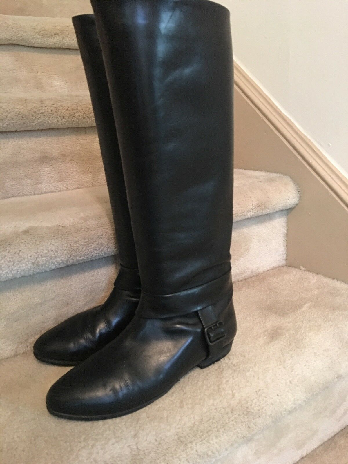 VERY FINE LEATHER & LEATHER LINED CLASSIC WOMEN'S BOOTS WITH SIDE BUCKLE
