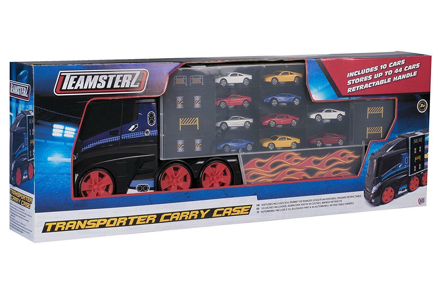 TEAMSTERS 10 CARS KIDS TOY GAME SET DIECAST CAR TRANSPORTER VEHICLE CARRY CASE