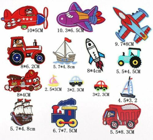Tractor Plane Boat Crafts Badge HD156 15pcs Mixed Kids Vehicle Iron On Patches