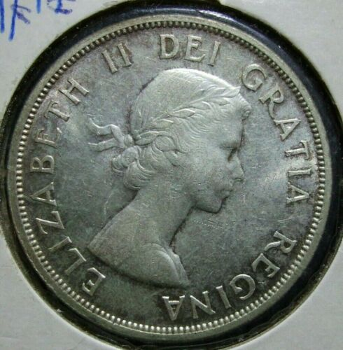 1958 Fine Silver Canada Totem BC $1 Dollar Coin Very Fine Condition