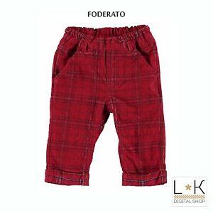 Pantalone in Velluto Rosso a Quadri Neonato Minibanda R643