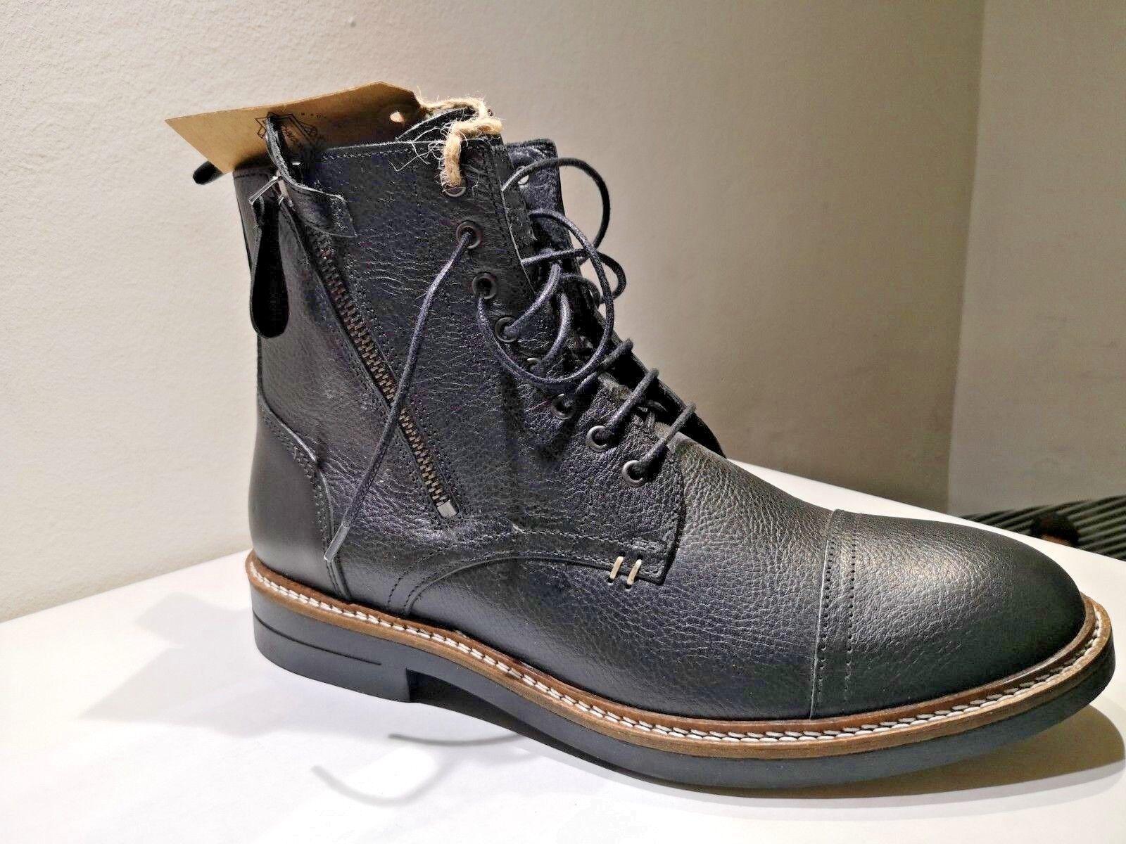 SCHMOOVE Stiefel Crew schwarzes Leder neu Wert 185E Schuhgrößen 40,41, 42