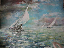 Large Russian oil painting Ocean and Boats