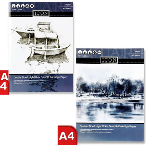 Sketch Book dibujar A4 PAD CARTUCHO PAPEL BLANCO de doble cara 40 Hojas 135//185gsm