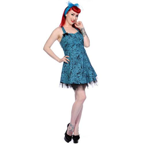 Skulls N Roses Schädel Blau Banned Vintage Gothic Punk Minikleid Sommerkleid