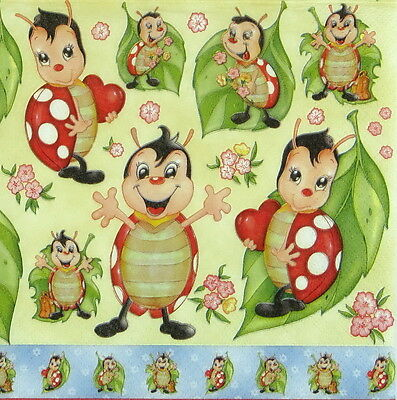 4x Paper Napkins for Decoupage Decopatch Craft Ladybirds