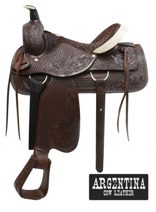 16  Buffalo silverina cow leather roper style saddle.