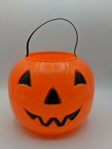 Vintage-1980-Pumpkin-Jack-O-Lantern-Blow-Mold-Candy-Pail-Bucket-Trick-Treat