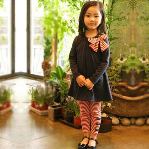 Kinder Mädchen Outfits Schleife Sweatshirt Tops Freizeithose Gestreift Leggings