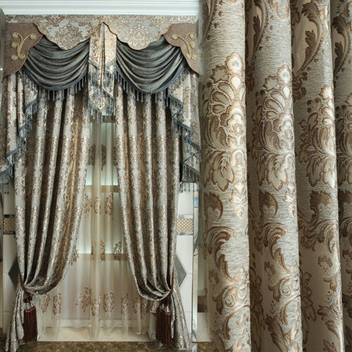 European luxury jacquard chenille high-grade villa blackout curtain valance E781