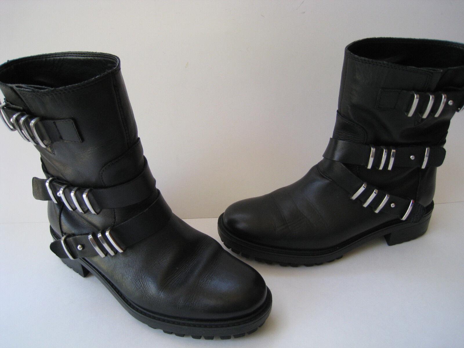 ZARA Damenschuhe BLACK LEATHER BIKER ANKLE METAL TRIM Stiefel WOMEN US 6  EUR 36 HOT
