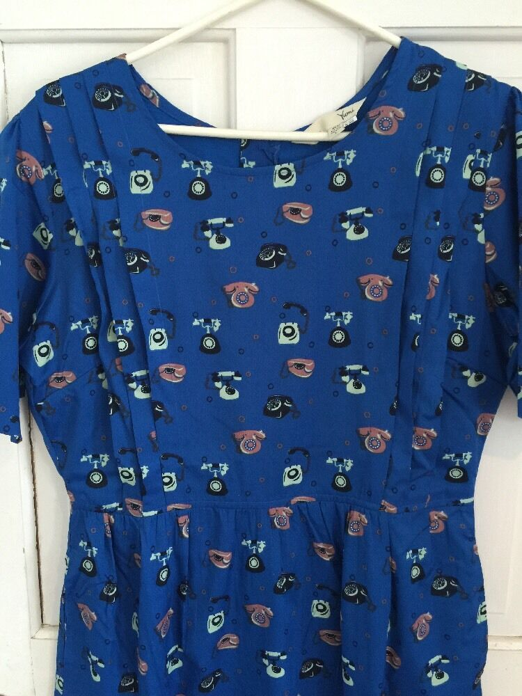 127. Modcloth Yumi Vintage Rétro Nouveauté Téléphone Imprimé tea dress NEW sans Original balises L