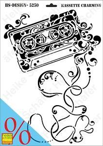 Schablone-Stencil-A3-113-5250-Kassette-Charming-Neu-Heike-Schaefer-Design