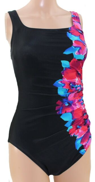 15a34384e5 KIRKLAND Miraclesuit SWIMMING COSTUME Slimming Swimsuit Shape Firm BLACK  FLORAL