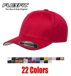 7707828416103 FLEXFIT Adult Wooly cotton blend 6-Panel Baseball Hat Cap plain flex ...