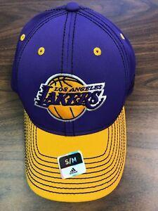 98eeeddf386 NBA Purple   Gold ADIDAS FITMAX Los Angeles Lakers Cap SIZE S M