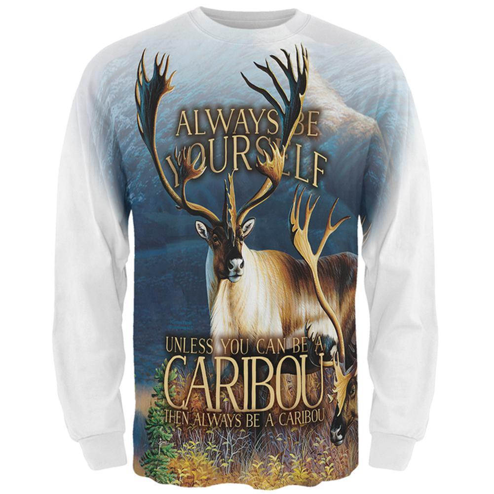 Always Be Yourself Caribou Reindeer All Over Mens Long Sleeve T Shirt