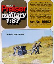 Preiser 16602 3,7cm PAK L/45 beim Stellungswechsel Wehrmacht WK 2 1:87  [G]