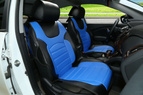 Blue leather 2 bucket for Honda #802E Car seat cover cushions Black