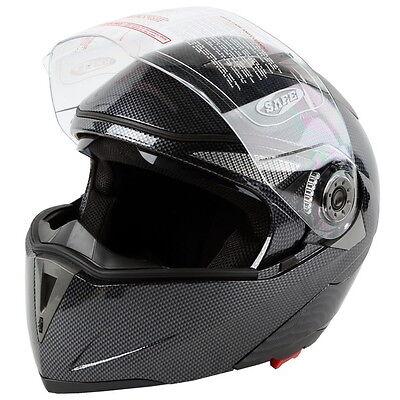 Carbon Modular Flip Up Dual Visor Sport Shield Motorcycle Adult Helmet S M L XL