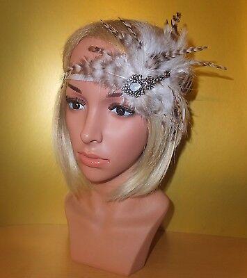 Aufstrebend Fascinator Haarschmuck Headpiece Stirnband Weiß Braun Brosche Federn Steinchen