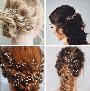 Image Is Loading 3pcs Gypsophila Pearls Hair Pins Sticks Accessory Wedding