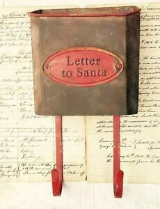 Primitive Rustic LETTER TO SANTA Mailbox Mail Bin Hooks~Vintage Style Christmas