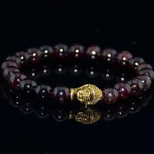 Men's Garnet Gold Buddha Head Beaded Bracelet Energy Bracelet