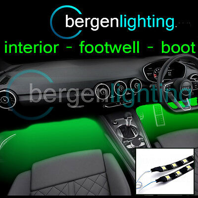 2X 300MM GREEN INTERIOR UNDER DASH/SEAT 12V SMD5050 DRL MOOD LIGHTING STRIPS