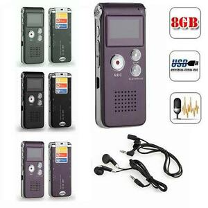Rechargeable 8GB Digital Audio/Sound/Vo<wbr/>ice Recorder Dictaphone MP3 Player RT# US