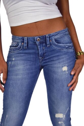 PEPE Jeans RIPPLE RB5 Low Cut Super Skinny Fit Mittelblau Destroyed 24//25//26//28