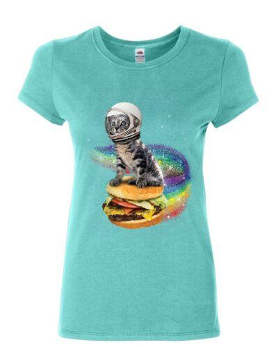 Cat Flying a Rainbow Burger Women/'s T-Shirt Funny Astronaut Kitten Space Shirt