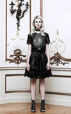 NEW!! $2,685 GIVENCHY LEATHER LACE SKIRT Pleated Plissé MODA OPERANDI FR 40 US 8
