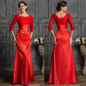 spitze rot lang ballkleid abendkleid hochzeitskleid brautkleid partykleid kleid ebay. Black Bedroom Furniture Sets. Home Design Ideas