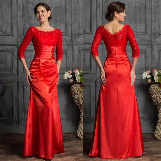 Spitze ROT Lang Ballkleid Abendkleid Hochzeitskleid Brautkleid Partykleid Kleid