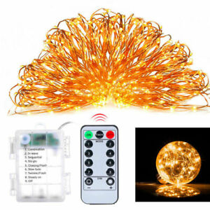 100-200LED-Fairy-Light-copper-String-remote-control-Battery-Powered-8-Function