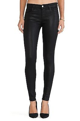 New J Brand Black Coated Faux Leather Skinny Jegging Pants Jeans Fearless 620