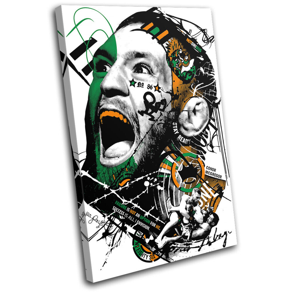 Conor McGregor Graffiti UFC MMA Sports SINGLE TELA parete arte foto stampa