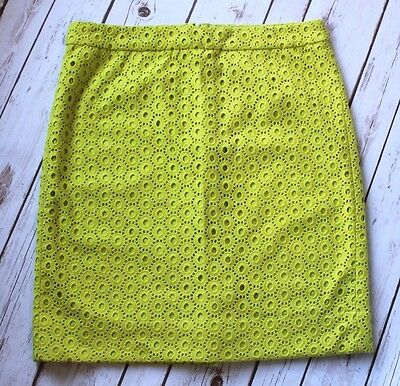J Crew Skirt Women 6 M Eyelet Lace Kiwi Green No 2 Pencil Straight Career Work