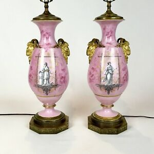 Pair-Antique-Old-Paris-Porcelain-Neoclassical-Lamps-With-Rams-Heads
