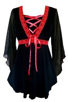 Plus Size Gothic Bewitched Corset Top In Black With Red Trim 1x 2x 3x 4x 5x