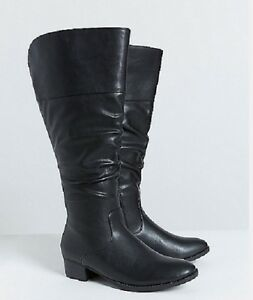 765726046c54 Lane Bryant Slouch Riding Boot Wide Width Calf Plus Size 7 M BLACK ...