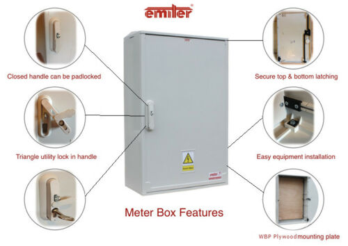 EMITER  660mm x 600mm x 320mm 3-Phase Surface Mounted Electricity Meter Box