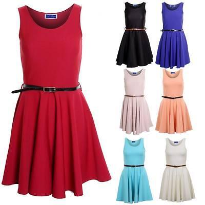 New Ladies Belted Skater Dress Short Mini Party Franki Flared Top UK 8-14