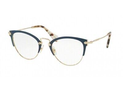 Bene Montatura Occhiali Da Vista Miu Miu Autentici Mu 50qv Blu Vyh1o1 Attraente E Durevole