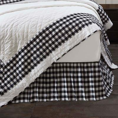 Black Check Queen Bed Skirt Dust Ruffle, Khaki Bed Skirt Queen