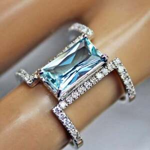 14kt-White-Gold-Plated-Emerald-Cut-Aquamarine-Ring-925-Sterling-Silver-Ring